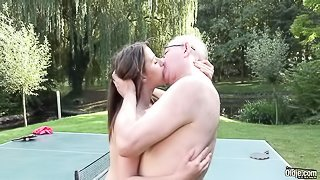 Horny old man is fucking a stunning young brunette Gabriella